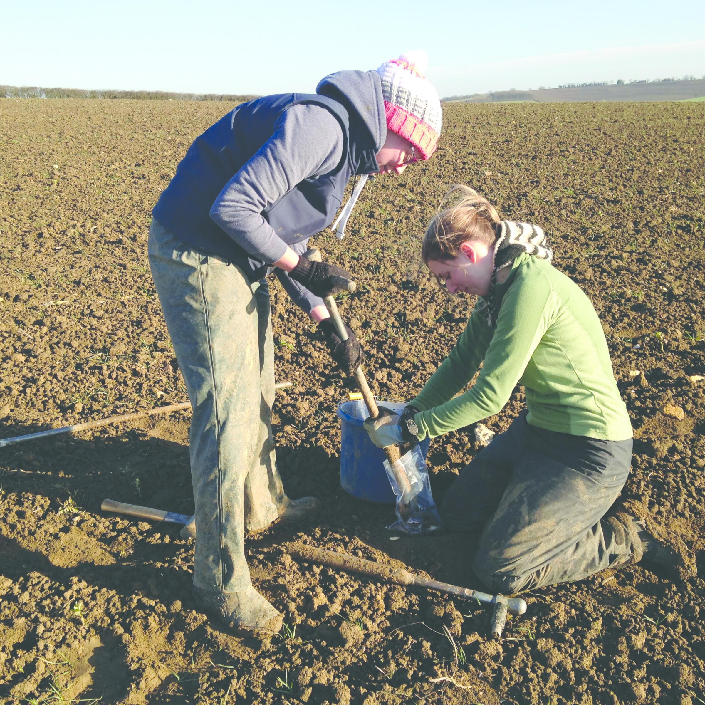 GWCT team members sample soil. Image provided by GWCT