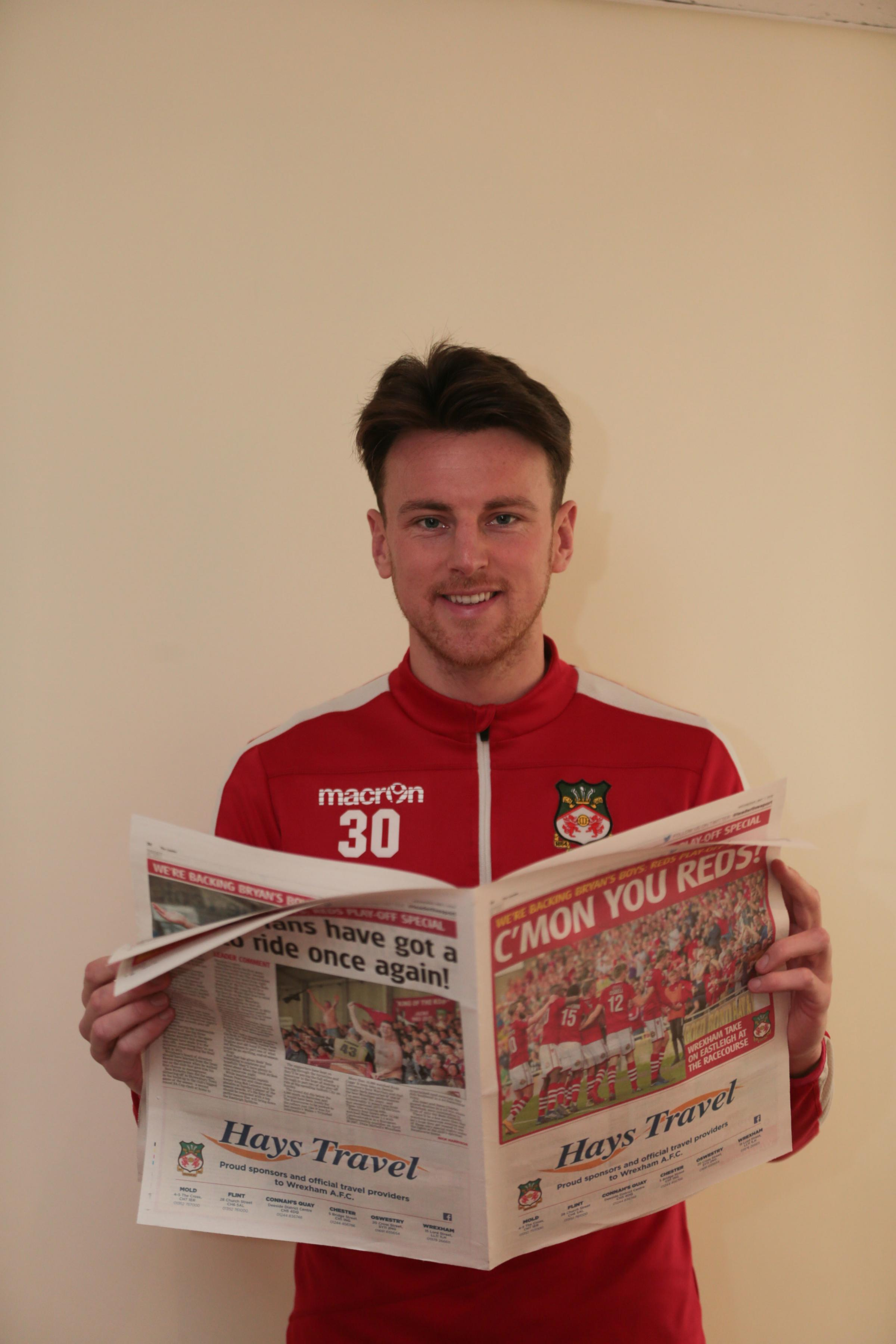 Wrexham Playoffs press conference..cc010519A..Jake Lawlor with Leader special edition pullout.