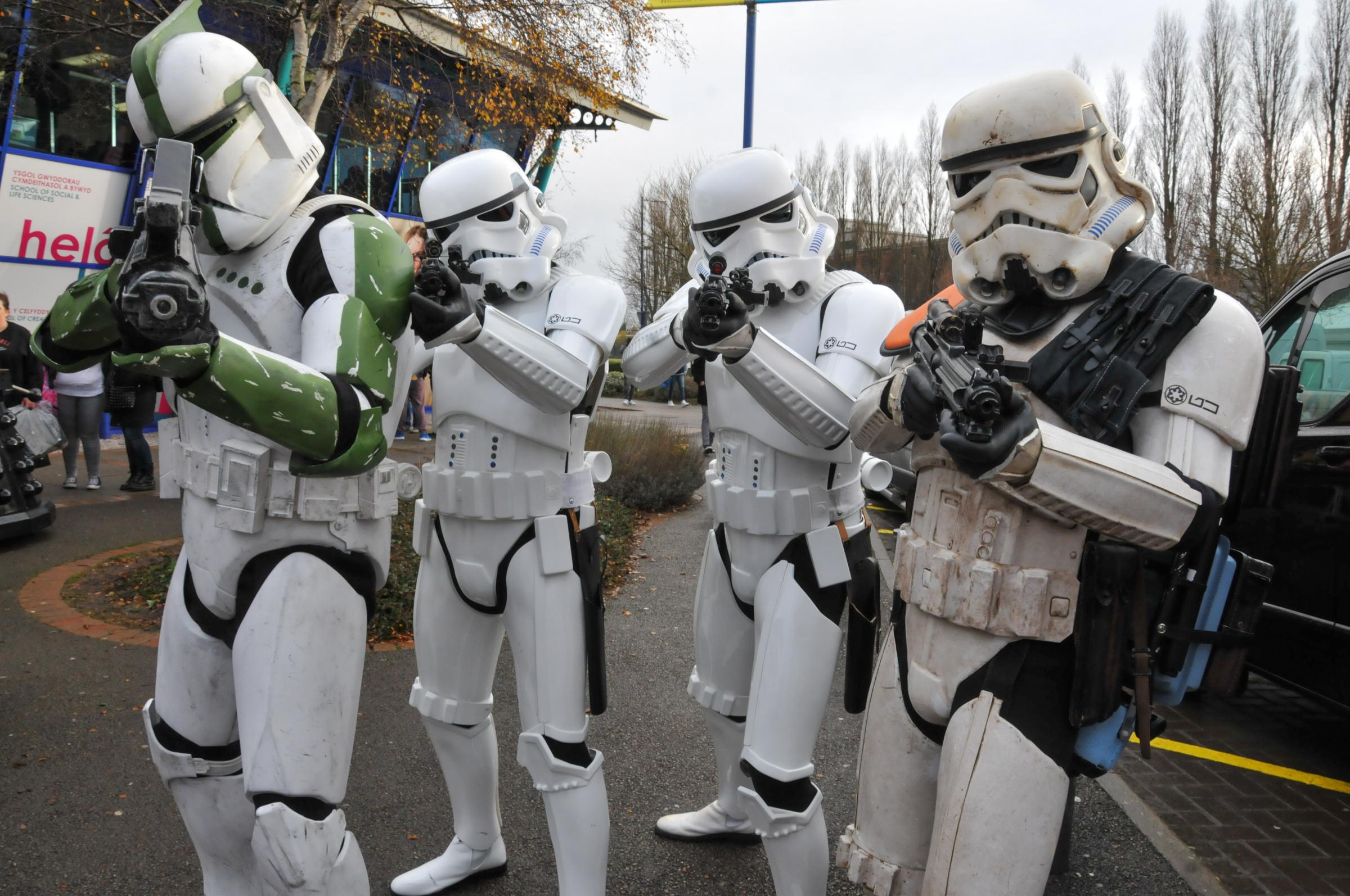 Wales Comic Con at Wrexham Glyndwr University.   Picture Star Wars Members of the 500 1st Garrison Legion.SW021217D