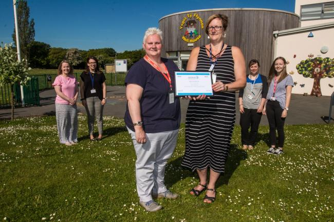 Ysgol Ty Ffynnon Numicon award...CC150519N..In pic L>R..Sian Earl JOnes, Rhian Knapper, Ann Jones, Jane Thomas, Kate Jones and Lauren Colegate.
