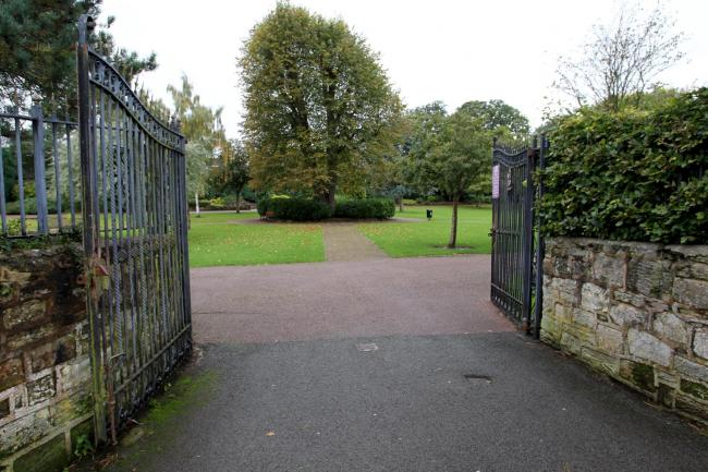 One of the entrances to Mold Recreation Ground on Maes Bodlonfa