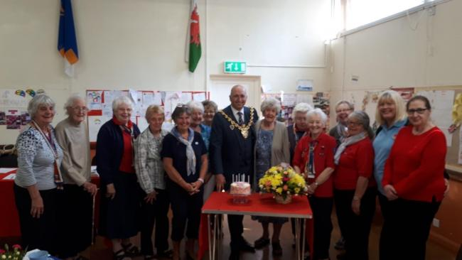 The outgoing Mayor of Wrexham, Cllr Andy Williams, helped Stroma Davies celebrate her 90th birthday