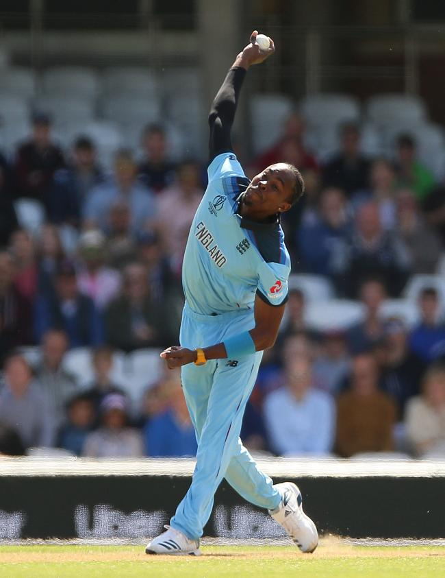 England's Jofra Archer during the ICC Cricket World Cup Warm up match at The Oval, London. PRESS ASSOCIATION Photo. Picture date: Monday May 27, 2019. See PA story CRICKET England. Photo credit should read: Nigel French/PA Wire. RESTRICTIONS: Editori