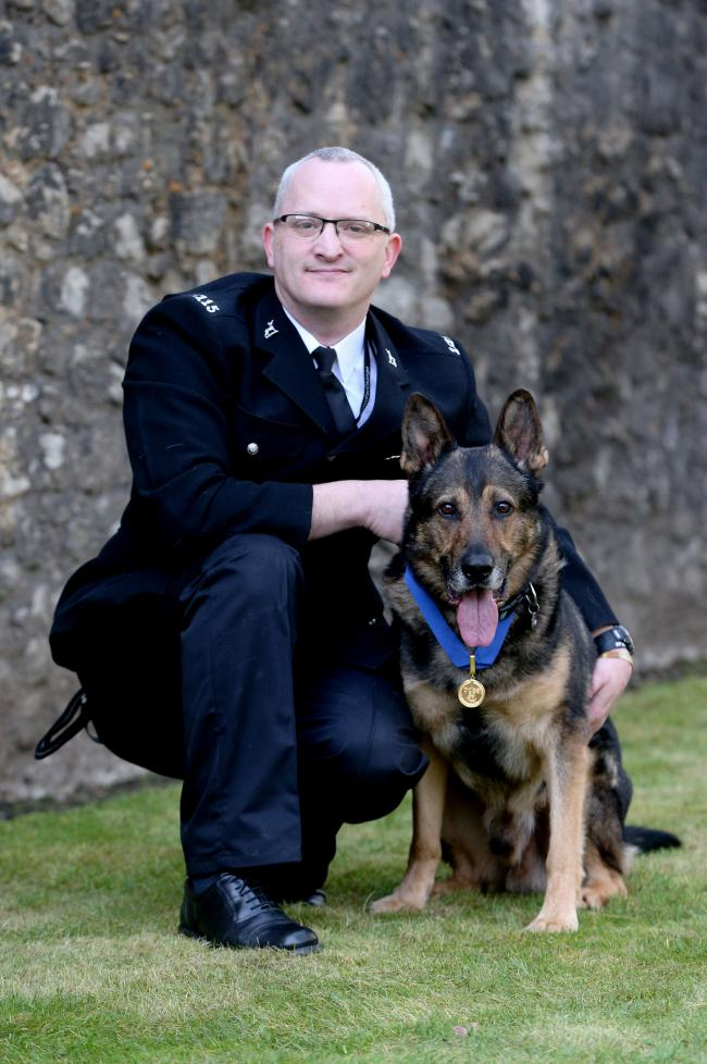 Police dogs and horses will have more protection from attacks after The Animal Welfare (Service Animals) Bill, nicknamed Finn's Law, came into force on Saturday, June 9 (PIC BY JONATHAN BRADY/PRESS ASSOCIATION)